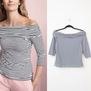 Pure Collection Off the Shoulder Top Breton Stripe
